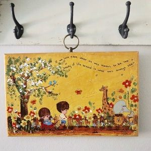 Retro Kid's nursery wooden hand painted wa…